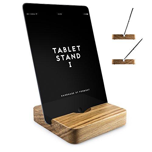FORMGUT Holz iPad Ständer mit 2 Neigungen Handmade Stand-halterung, Standfuss - Bodenhalter, Massivholz Halterung, Tablet Stand 1 Eiche (Kirsche Massivholz Tisch)
