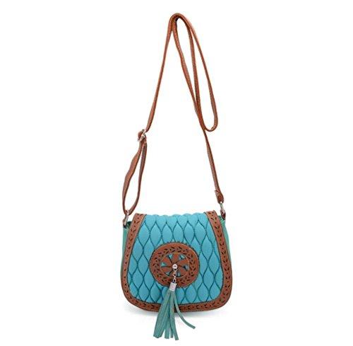 Tongshi Bolsa de hombro del bolso de la silla de montar hueco vendimia de las mujeres hacia fuera Mujer Mensajero (Cielo