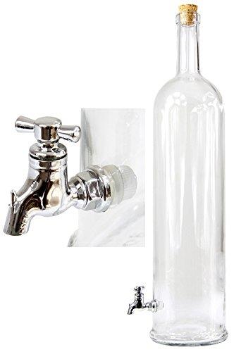 3 L Flasche mit Zapfhahn Auslaufhahn Whiskyflasche Glasflasche Weinflasche Glas