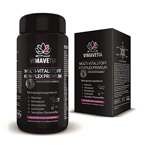 VIMAVETIA MULTI-VITALSTOFF KOMPLEX PREMIUM- natürliches Astaxanthin 6mg, Vitamin C aus Camu Camu, D3+K2MK7, Vitamin B Komplex, OPC, Anti Aging & AUGEN VITAMINE, Sehkraft,90 DRCaps®,Vegan, Laborgeprüft