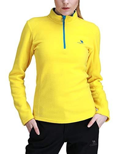Outdoor-half Zip Pullover (Camel Damen Half Zip Fleecejacke für Damen Pullover Langärmliges Sweatshirt Leichtes Outdoor Skirolli Fleeceshirt Gelb EU L)