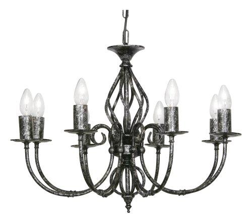 Oaks Lighting Tuscany Kronleuchter, 8-flammig, Schwarz/Silberfarben