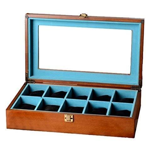 BULING Uhr Display Aufbewahrungsbox Schmuck Sammlung Fall Veranstalter Inhaber aus Holz (Uhr Inhaber Männer)