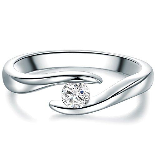 Tresor 1934 Damen-Solitärring Sterling Silber Zirkonia weiß im Brillantschliff - Spannring gedreht Verlobungsring Antragsring Trauring: Ring Gr. 50 (15.9)