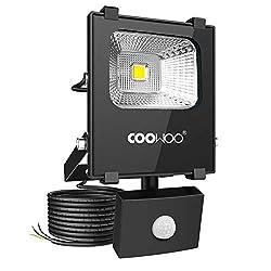 COOWOO 10W LED Strahler mit Bewegungsmelder 1000LM Außenstrahler Fluter IP65 Wasserfest Flutlicht für Garten Garage Sportplatz Hof (1 pack)