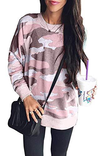 Cindeyar Damen Langarmshirt Rundhal Casual Sweatshirt Camouflage Pullover Bluse Tops große größen(pk,2XL)
