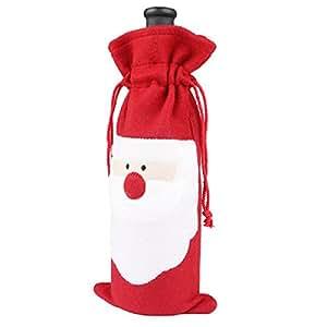Megadream® di Babbo Natale con bottiglia di vino, motivo: Party-Decorazioni da tavola per regalo, motivo natalizio Rosso