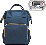 Diaper Bag Nappy Bag Mommy Bag Travel Backpack Waterproof Multi-Function Mommy Bag Large Capacity Stylish Durable Perfect for Baby Care Travel Work Outing (Dark Blue)