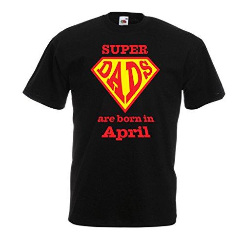 Männer T-Shirt Super-Väter sind im April geboren Geburtstags-T-Shirts Geschenke (Large Schwarz Mehrfarben)