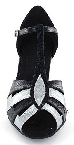 TDA ,  Damen Tanzschuhe Schwarz/Silberfarben
