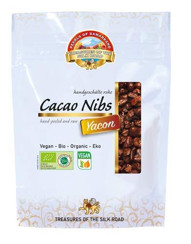 Semillas de Cacao crudas endulzada con Yacon Bio 600 gr granos habas granillas de cacao criollo ecológicas 100% naturales organic Cacao Nibs