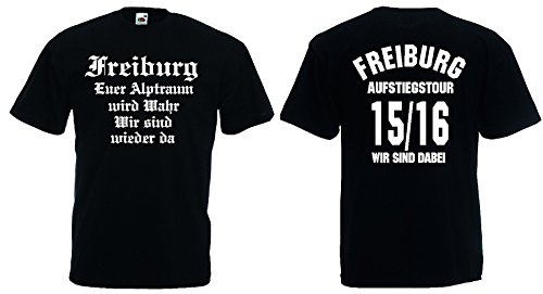 Freiburg Aufstiegs-Tour T-Shirt von S-XXXL Austeiger 2015/16 Schwarz