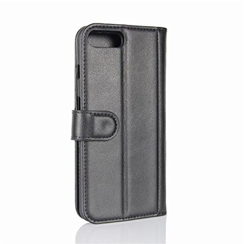Etui en cuir véritable pour iPhone 7 Plus, Lifetrut Housse en Cuir de Portefeuille en Cuir Véritable Vintage pour iPhone 7 Plus [Brown] E201-Noir