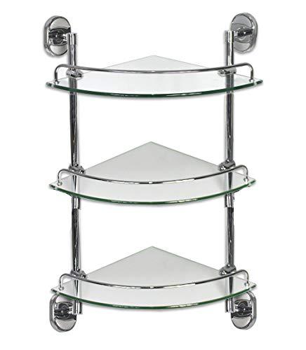 0a7a1418ba Vetrineinrete Mensola angolare per doccia a 3 livelli ripiani in vetro con  reggimensola acciaio da muro