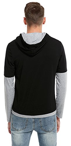 Whatlees Herren Urban Basic reguläre Passform T-shirt mit Kapuzer B771-Black