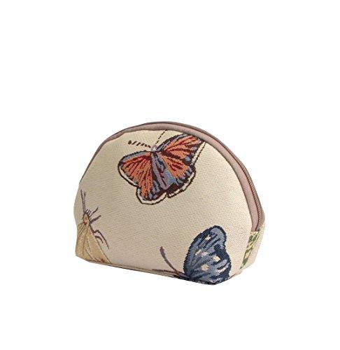 Borsa donna di Signare per il trucco in tessuto stile arazzo alla moda Animali (Coccinelle) Farfalla