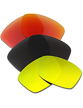 Hkuco Plus Mens Replacement Lenses For Oakley Jupiter Squared Red/Black/24K Gold Sunglasses