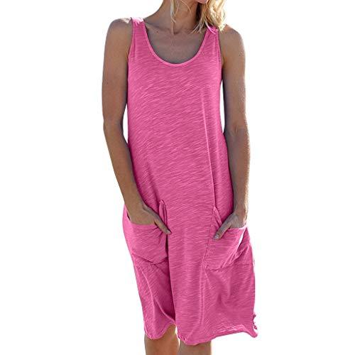 COZOCO 2019 Damen Urlaub Freizeitkleid Sommer Solide Swing Kleid ärmellose Party Medium Kleid Strandkleid