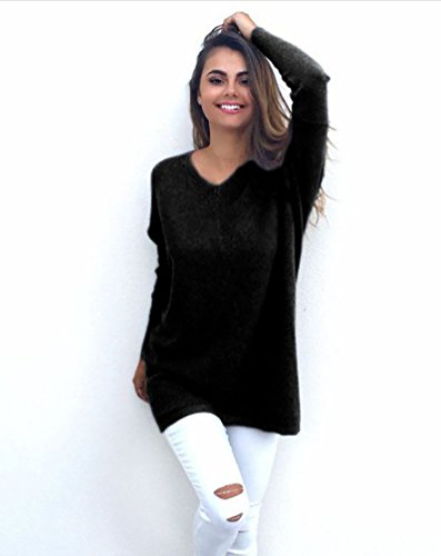 YouPue Femme Pulls manches longues Col V Pull Sweater Tricot Sweatshirts Pullover Pull Top Blouse Jumper En Vrac Noir