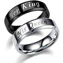 2a2ea05b5ea8 LUOEM Anillo de Dedo de Parejas de Acero Inoxidable Anillos de Promesa de  Boda Her King