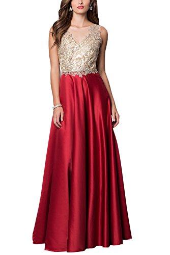 Bridal_Mall - Robe - Trapèze - Sans Manche - Femme noir Schwarz 34 rouge foncé