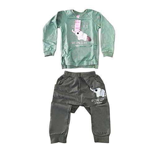 Prima05Sally 2 Stück langärmeliges Sweatshirt + elastischer Hosenanzug mit reizendem Elefantendruck Säuglingsbaby Jungen Mädchen Weicher Sportanzug (Stück Zwei Hosenanzug)