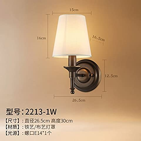 Upper-Simple bedroom bedside lamp wall lamp wall lamp European aisle stairs retro TV setting wall of the sitting room wall,2213-1W (Vintage