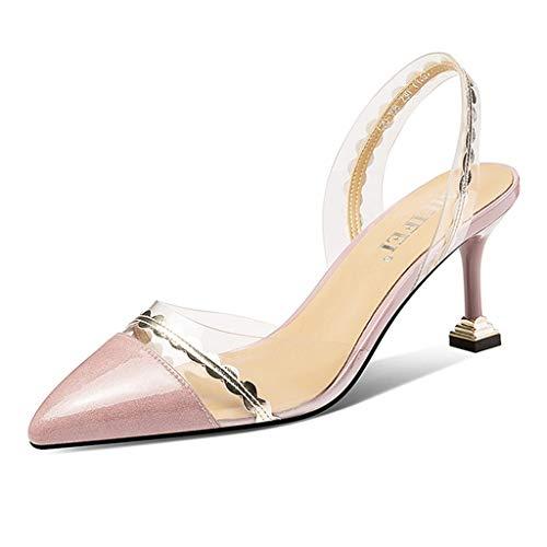 Small Code 2019 Sommer Neue Transparente Sandalen Damen High Heels Stiletto Sexy Pointed Fashion Transparenter Film Große Damenschuhe (Color : Pink, Size : 235mm)