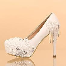XIE Zapatos de la boda de las mujeres / Princesa y novia / Flor de encaje / Tacón de estilete / Redonda toe plataforma impermeable / Sandalias de tacón alto / Zapatos de danza blanca , 12CM , CN36