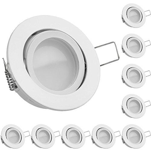 10er LED Einbaustrahler Set Weiß mit LED GU10 Markenstrahler von LEDANDO - 5W DIMMBAR - warmweiss - 110° Abstrahlwinkel - schwenkbar - 35W Ersatz - A+ - LED Spot 5 Watt - Einbauleuchte LED rund