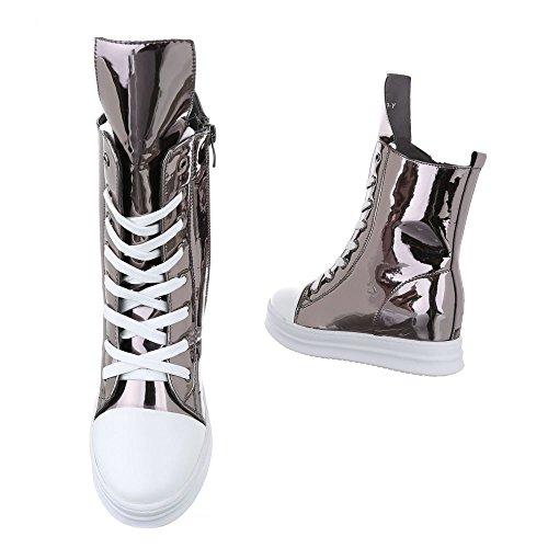 design Casuais De Tênis Zip Prata Cunha Cunha Mulheres Calcanhar Cinza Ital Sapatos top Alto Sapatos De IqwR0vO