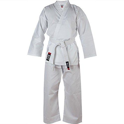 Blitz Kinder Karateanzug/Gi/Uniform mit weißem Gürtel, Weiß, Schwarz, Rot, Blau - weiß - 130 cm