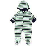 TupTam Unisex Baby Strampler mit Kapuze Overall Gemustert, Farbe: Streifenmuster Dunkelblau/Grün/Grau, Größe: 74