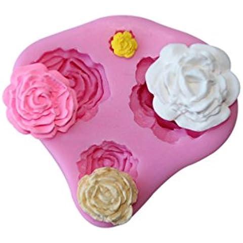 NYKKOLA in silicone antiaderente torta pane stampo muffin tazze Handmade Soap Stampi biscotti torta di cioccolato ghiaccio stampo fai da te cucina 4-Cavity rose