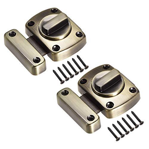 ZCHXD Rotate Bolt Latch, 1.5-inch Zinc Alloy Security Door Slide Lock, 2 Pcs (Bronze) -