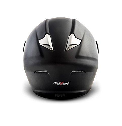SOXON ST-550 Fighter · Integral-Helm Scooter-Helm Urban Motorrad-Helm Roller-Helm Cruiser Sport Helmet Sturz-Helm · ECE zertifiziert · inkl. Sonnenvisier · inkl. Stofftragetasche · Schwarz · XS (53-54cm) - 4