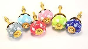 """Citrouille colorful Lot de 6 boutons de porte de placard en céramique pour tiroir retire S 1 """"de diamètre"""