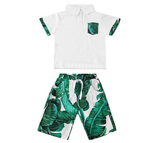 Winkey Kids Set, 2PC Neugeborenen Baby Boy Trend Casual Kurzarm Leaf Print Top + Hosen Set -