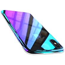 FLOVEME IPhone X Case, Luxury [Slim-Fit] [Anti-Scratch] Gradual Colorful Gradient Change Color Ultra Thin Lightweight Anti-Drop Clear Hard Back, Transparent Purple