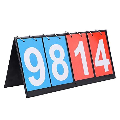 DEWIN Basketball Anzeigetafel-Tragbare Flip Sport Anzeigetafel Score Counter für Tischtennis Basketball (4 Digit-Rot + Blau)