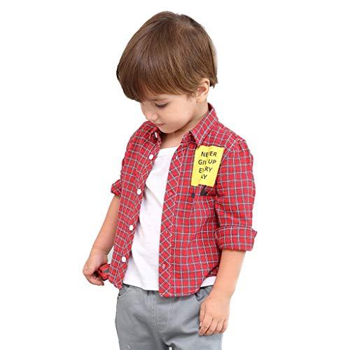 Baby Jungen Kleidung 62, Oyedens Never Give Up Every Day Kinder Kariertes Hemd Langarmkinder Jungen Kleidung 122