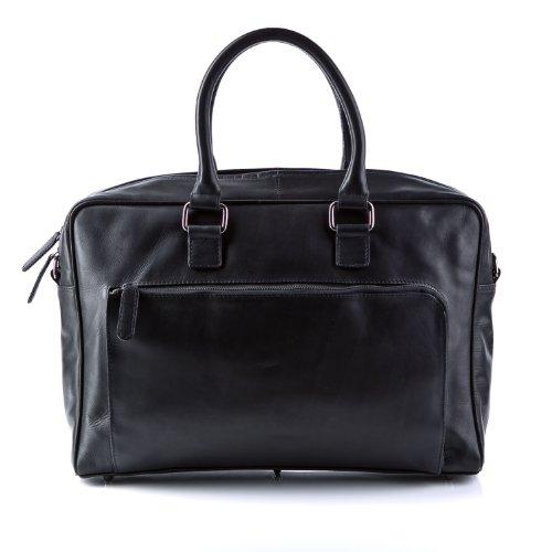BACCINI Laptoptasche Leder BEN groß Businesstasche Herren 15 Zoll Laptop Umhängetasche Aktentasche bis 15,4 Zoll echte Ledertasche Herrentasche schwarz