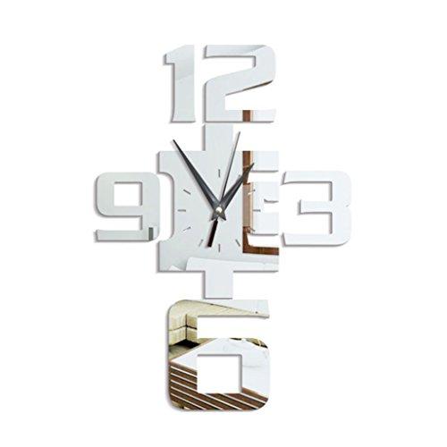 zhouba groß arabischen Zahlen Wanduhr Aufkleber Acryl Spiegel Aufkleber Home Dekoration, acryl, silber, Einheitsgröße (Zahlen Aufkleber, Großer)