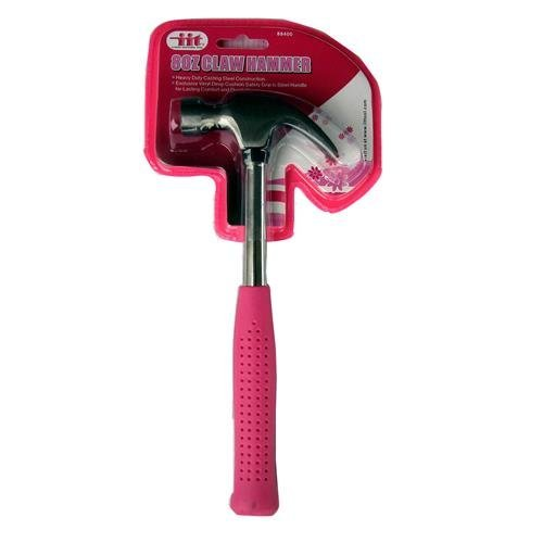 2 Pack IIT 88400 Ladies 8-Ounce Claw Hammer, Pink