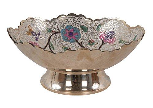 Commerce équitable Scalloped-edged ornementales Laiton Bol décoré à la main 19 cm