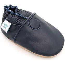 Dotty Fish - Garçons et Filles Chaussures Cuir Souple bébé et Bambin - Bleu Marine - 2-3 Ans (Taille 25)