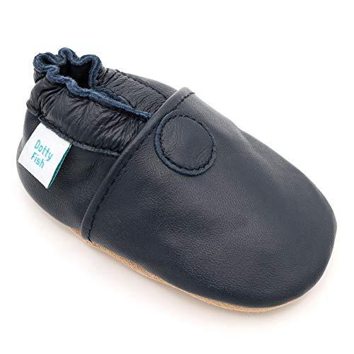 Mop Harte Boden (Dotty Fish weiche Leder Babyschuhe mit rutschfesten Wildledersohlen. 2-3 Jahre (25 EU). Einfarbig marineblauer Schuh. Klassisches Design. Jungen und Mädchen. Kleinkind Schuhe.)