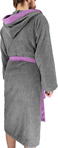 Bademantel Saunamantel aus Baumwolle mit Frottee zweifarbig mit Kapuze für Damen und Herren - Öko-Tex 100 - Premium Qualität by normani® Grau/Rosa