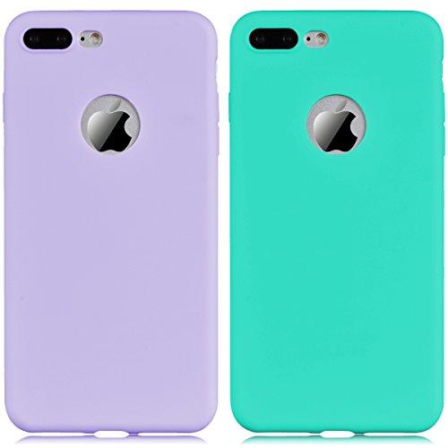 Coque iPhone 7, Yokata Etui iPhone 7 Solide Mat Anti-Fingerprint Case Housse Étui Soft Doux TPU Silicone Flexible Backcover Ultra Mince Coque - Rose Bleu