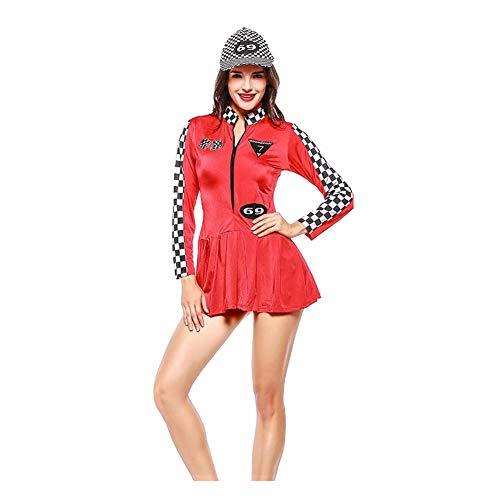 Rennfahrer Kostüm Mädchen - Haodasi Damen Lange Ärmel Stehkragen Reißverschluss Bodycon Checker Mini Racer Cheerleading Kleid Uniform Kostüm
